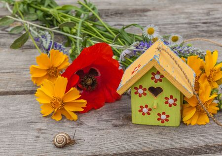 Summer background with a snail, decorative starling house and a bouquet of flowers