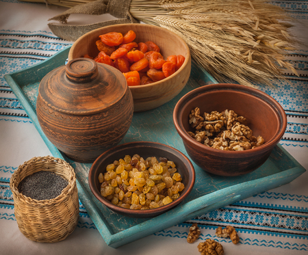 Ingredients for cooking traditional meal in eve Christmas Kutya