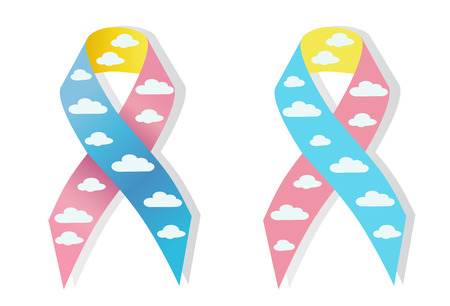 hernia: Cloud pink and blue ribbon congenital diaphragmatic hernia awereness Illustration