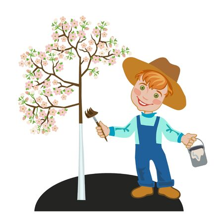 Happy little gardener boy with a paint brush whitening apple tree.