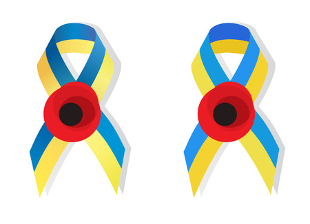 social movement: Yellow blue ribbon colors of the national flag of Ukraine and poppy flower symbol of the memory of World War 2 awarenes