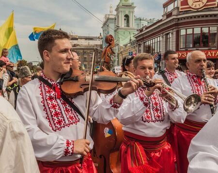 delegation: KIEV, UKRAINE - AUGUST 24: Ukraine Independence Day. A delegation from the Khmelnitsk region in national traditional costume  regions, Ukraine on August 24, 2014. Editorial