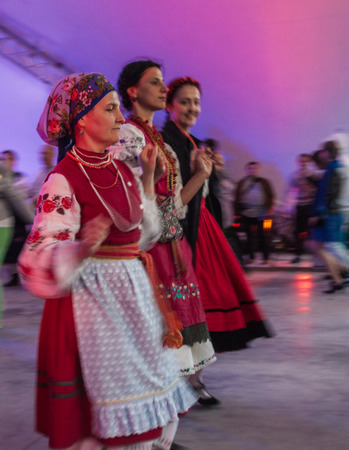 hosted: KIEV, UKRAINE-May 15-17,2015: 15-17 May 2015 at cultural complex ArtArsenal It hosted the International Festival of Traditional Culture Discover others - Know thyself!, in Kiev, Ukraine.