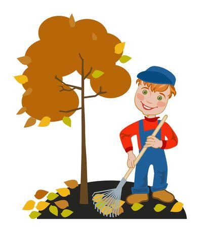 Happy little  boy gardener raking leaves in the garden Illustration