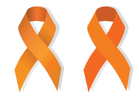 cruelty: Orange ribbon symbolizing the problems christians killing, cruelty to animals, leukemia, multiple sclerosis, kidney cancer, attention deficit hyperactivity disorder, pain syndrome awareness Illustration