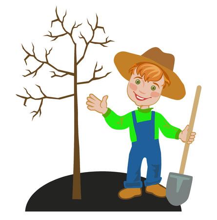 Joyful boy gardener works in a garden in autumn. Seasonal work in the garden Ilustração