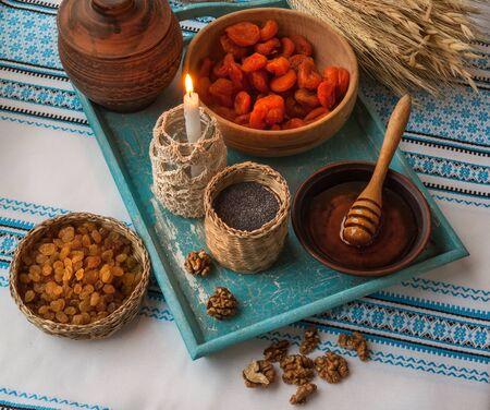 Ingredients for kutia - traditional food for Christmas. Christmas Eve