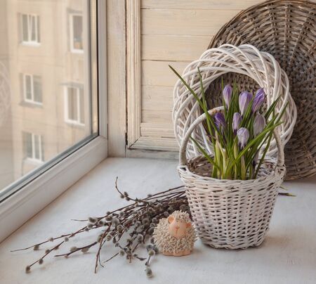 pasen schaap: Spring still life with crocus in a decorative bucket  and easter lamb on the window and willow twigs Stockfoto