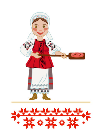 The girl in the Ukrainian national clothes toast sausage homepage