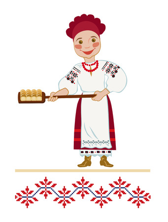 caucasians: A woman in a national Ukrainian suit bakes donuts Illustration