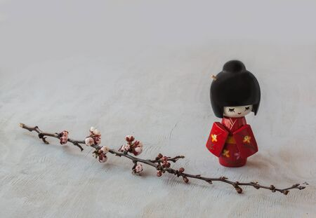 hanami: The kokeshi  doll in the Japanese kimono and a sprig of cherry blossoms. The concept of hanami either contemplation Stock Photo