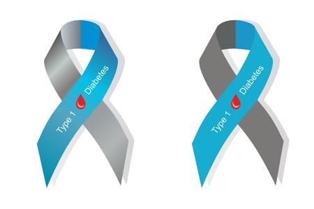 diabetes: Cinta gris y azul con la gota de sangre como símbolo de la diabetes tipo 1 Vectores