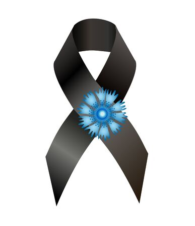 nazism: Black awareness ribbon and the flower cornflower a symbol of memory of victims of the French in World War II, as well symbol  European Day of Remembrance for Victims of  Nazism Stock Photo