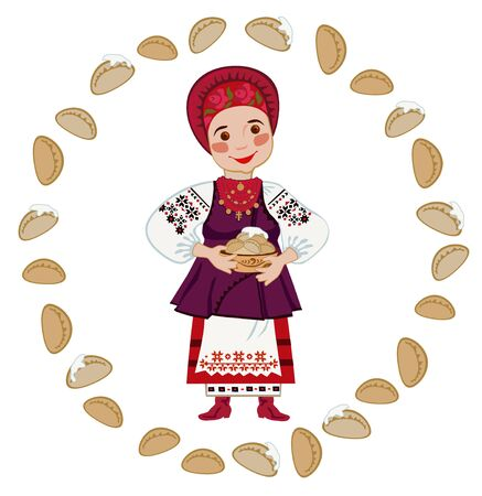 national costume: Woman in the Ukrainian national costume holding a plate of dumplings in a circle of dumplings