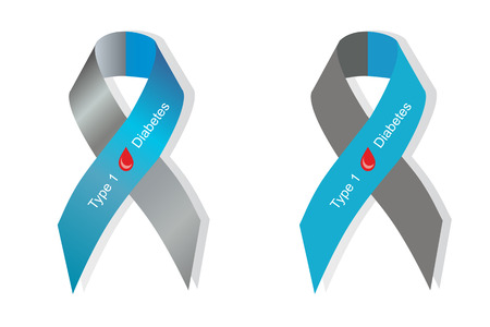 type 1 diabetes: Gray and blue ribbon with blood drop as symbol of diabetes Type 1
