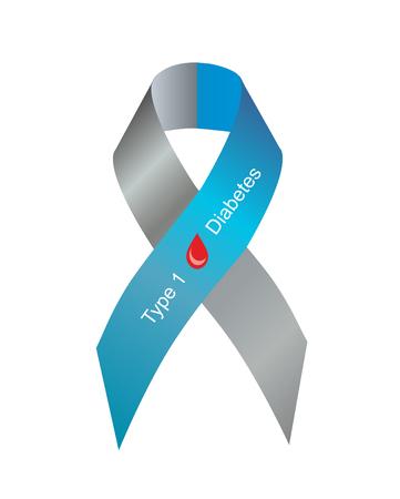 diabetes: Cinta gris y azul con la gota de sangre como símbolo de la diabetes tipo 1 Foto de archivo