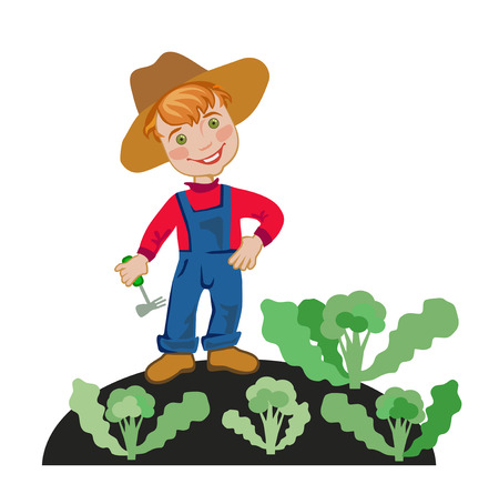 happy farmer: Happy farmer is working in the garden Illustration