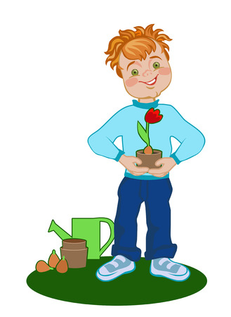 mother s: Happy boy with grown tulip Mother s Day Illustration