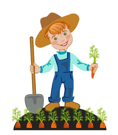 happy farmer: Happy farmer is working in the garden Illustration
