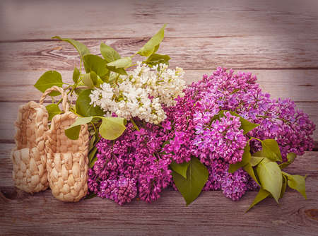 bast: Branches of blooming lilacs and a pair of decorative bast shoes on a wooden background. Toning Stock Photo