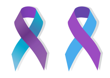 pediatric: The purple and blue awareness ribbon is a symbol for pediatric strokes.
