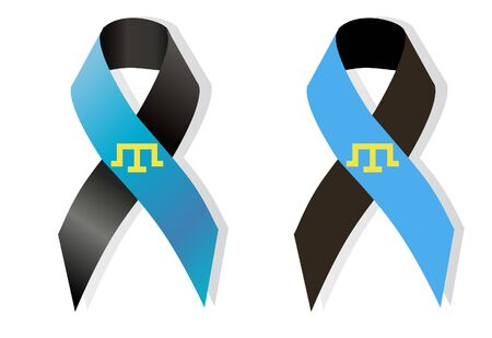 genocide: Black and blue symbol tamgha awareness ribbon memory deportation and genocide of the Crimean Tatars