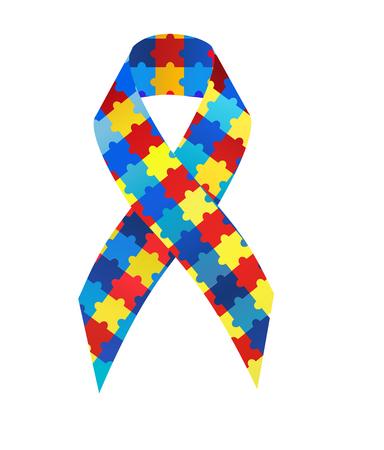Puzzle ribbon autism awareness