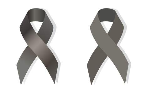 awareness ribbons: Gray ribbons stand for Asthma, Juvenile Diabetes and Brain Tumors Awareness