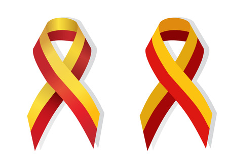 hepatitis prevention: Yellow Red Ribbon stands for Hepatitis C Virus Awareness Illustration