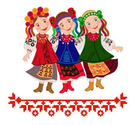 """Drie meisjes in klederdracht dansen de dans van het centrum van Oekraïne """"Bulba"""" (aardappel)"""