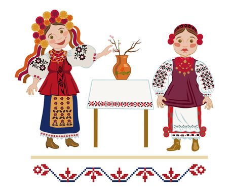 guess: Two girls in traditional costumes Ukraine guess for holiday of St. Catherine of getting married soon