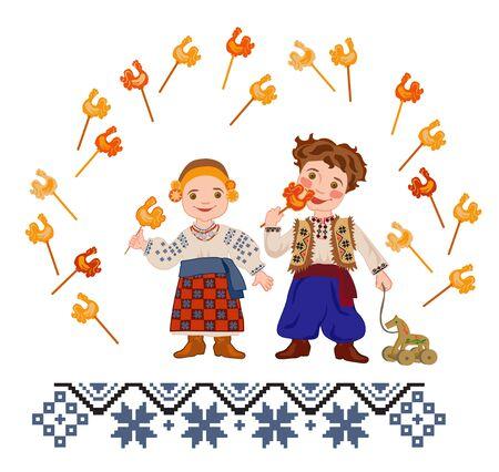 silvester: Children in Ukrainian folk costumes eating sugar cockerels as a symbol of the feast of St. Silvester