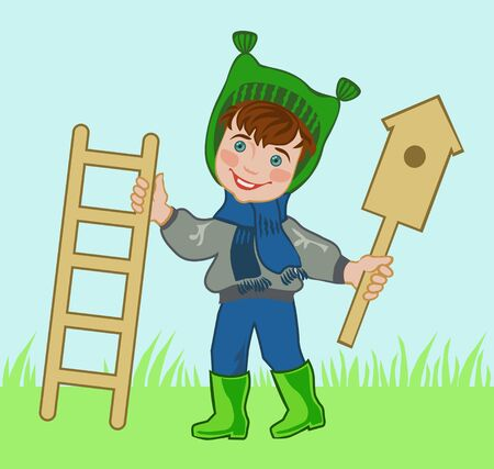 starling: Boy with a ladder and starling house. Illustration of the day birds