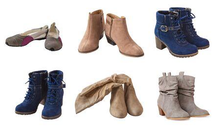 chamois leather: Set chamois leather womens shoes on a white background isolation Stock Photo