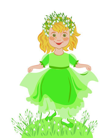little girl dancing: Little girl dancing in a wreath of snowdrops. The concept of the holiday arrival of spring Illustration