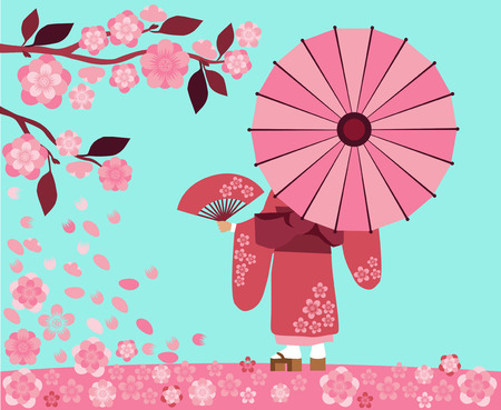 sakura flowers: Illustration start hanami festival in Japan, the sakura blossom season