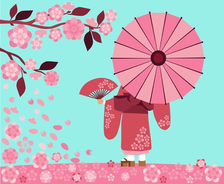 flor de sakura: Ilustraci�n festival de Hanami inicio en Jap�n, la temporada de flor de sakura Vectores