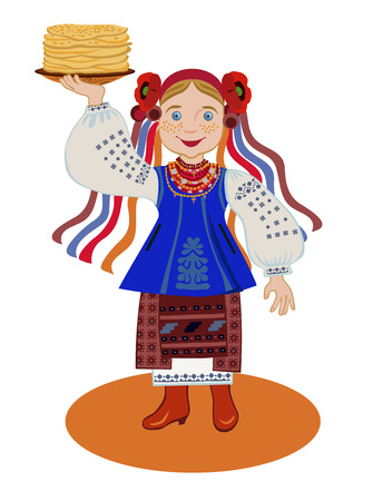 pancake week: The girl in the Ukrainian national costume (Kyiv region) is holding a plate of pancakes. Congratulations to the Pancake week
