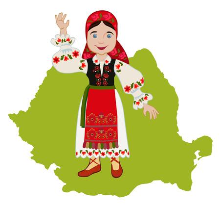 chica rumana en traje nacional tradicional en un mapa de fondo