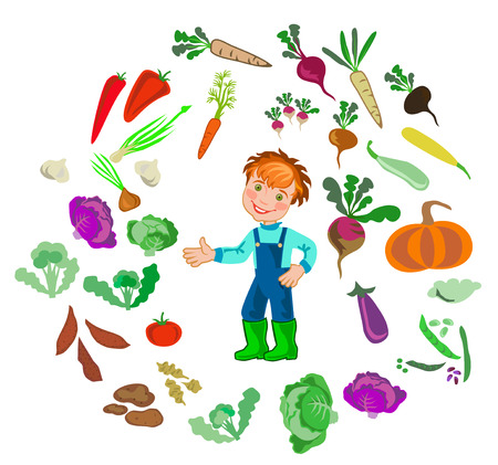 happy farmer: illustration of happy farmer and vegetables Illustration