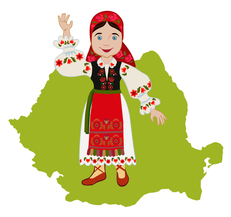 romanian: Romanian girl in traditional national dress on a background map