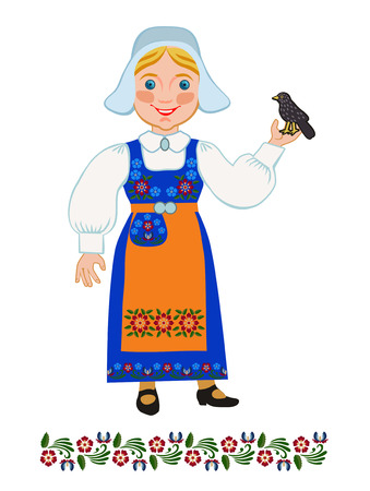 swedish: Swedish girl holding blackbird, Sweden symbol
