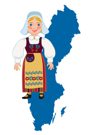 traditional: Swedish girl in traditional national dress on a background map