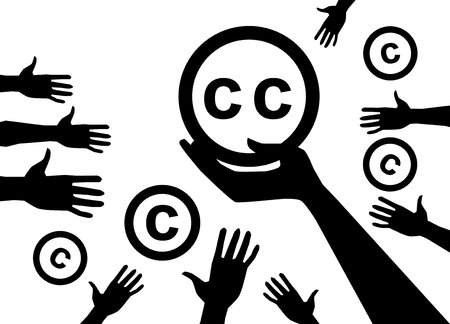 Opvatting van de juridische niet-commercieel is licenties Creative commons Stock Illustratie