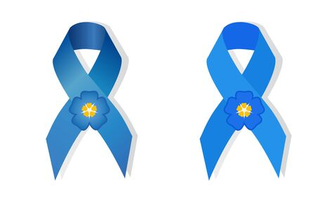 social movement: Blue awareness  ribbon and flower forget-me symbol for missing children