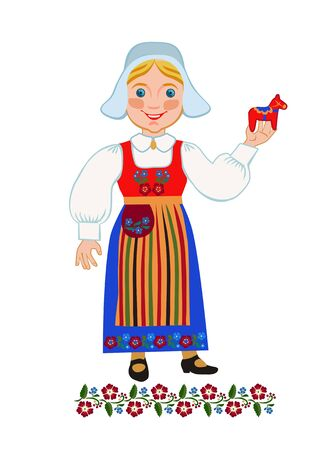 swedish: Swedish woman in a suit holding a province Dalarna souvenir folk art dalecarlian horse Illustration
