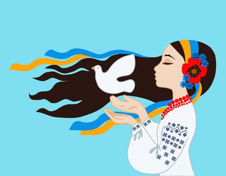 paloma de la paz: La chica en el traje ucraniano reza por la paz en Ucrania Vectores