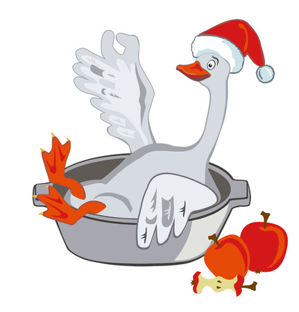 Merry goose sitting in a pot in the cap Santa. The concept of a Christmas goose