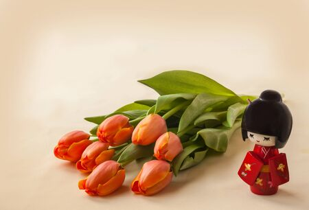 hanami: The concept of a Japanese contemplation tulips bloom. Hanami. (Mass-produced product) Stock Photo