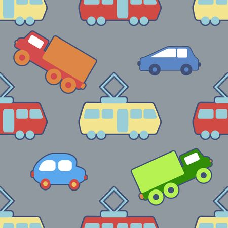 trams: Seamless background with a childrens toy cars and trams